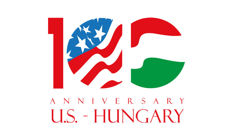 Graphic: 100 in the colors of the U.S. and Hungarian flag; text: Anniversary U.S.-Hungary