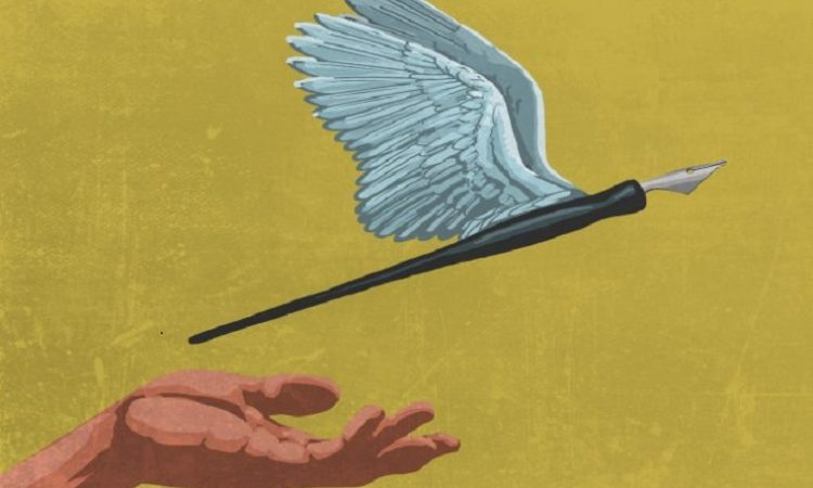 A design of a flying pen awith wings as a symbol of press freedom