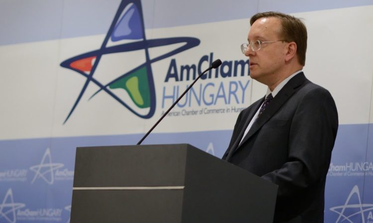 Chargé Kostelancik is speaking at AmCham podium