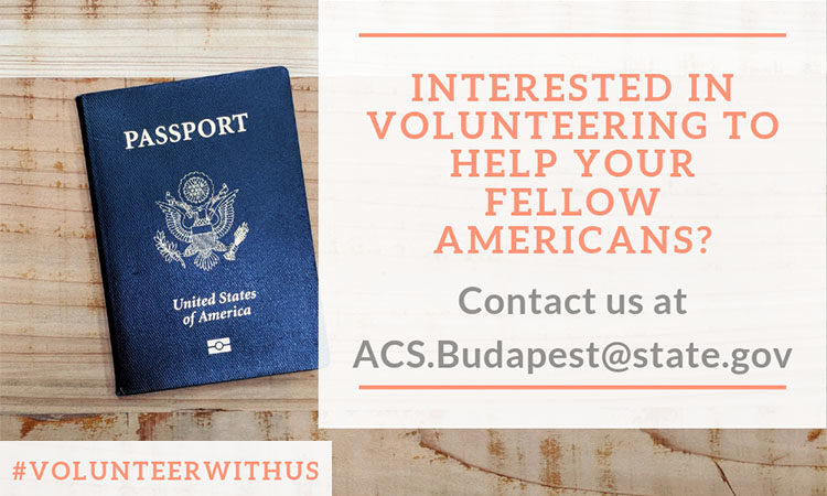 U.S. Passport with text: Interested in volunteering to help your fellow Americans?