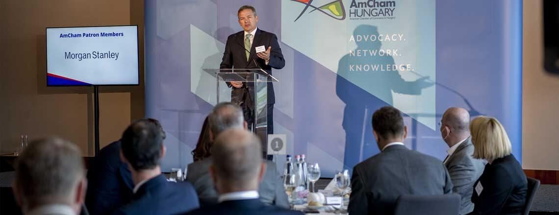 Chargé d'Affaires Marc Dillard at the AmCham Business Forum on August 30