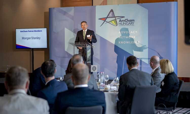 Chargé d'Affaires Marc Dillard at the AmCham Business Forum on August 30 (Embassy photo)