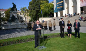 Ambassador Cornstein delivers his remarks in the garden of the Hungarian National Museum. (Embassy photo)