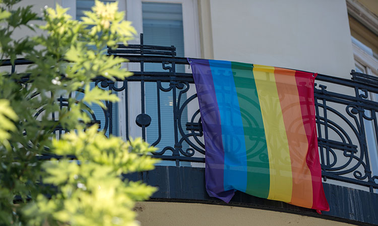 Rainbow flag on the Embassy building (Embassy photo by Attila Németh)