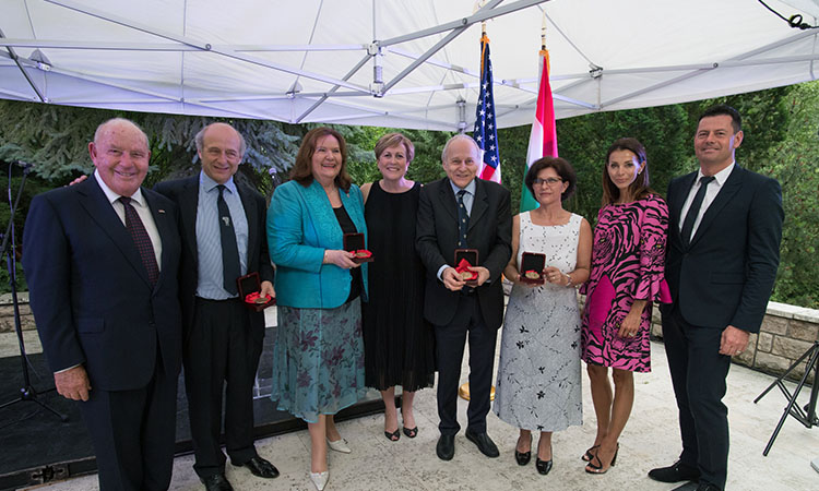 group photo of Ambassador Cornstein, Ivan Fischer, Eva Marton, Deborah F. Rutter, Ádám Fischer, Tünde Mózes-Szitha, and Stepánka and Karel Komárek (Embassy photo by Attila Németh)