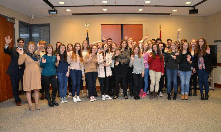 "Ambassador Julieta Valls Noyes met with a group of students from the High School ""A. G. Matoš"" from Zabok [State Dept]"