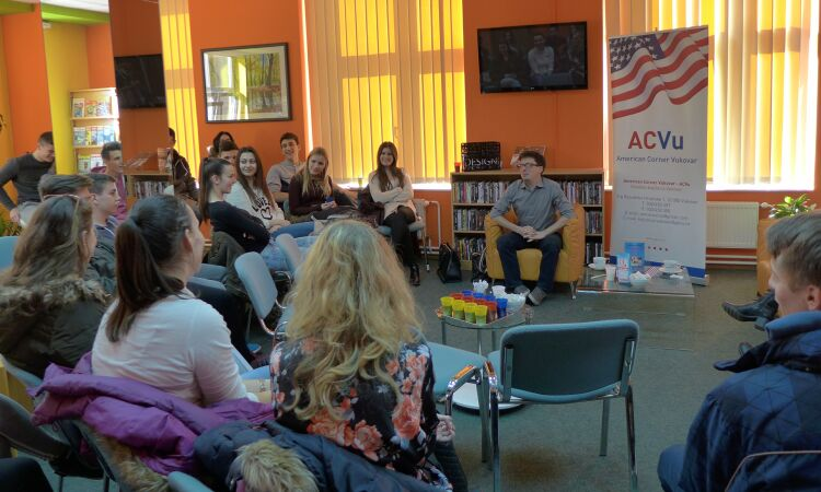 "Cody McClain Brown, best-selling author and political science professor, presented his book, ""Chasing a Croatian Girl: A Survivor's Tale"" at the American Corner in Vukovar [State Dept.]"