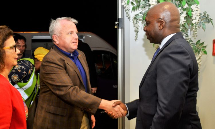 The Deputy Secretary of State, John J. Sullivan is greeted by the State Secretary for External Relations of Angola, Téte António on his arrival at Luanda's 4 de Fevereiro International Airport. The United States Ambassador to Angola Nina Fite introduced the two dignitaries.