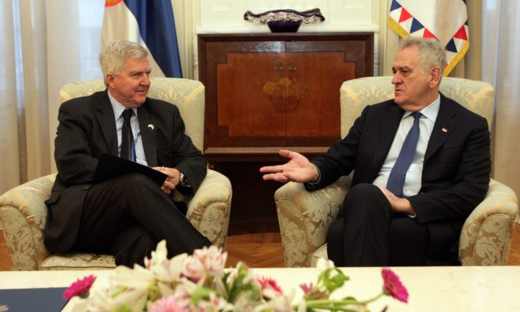 U.S. Ambassador to Serbia Kyle Scott talking with Serbian President of the Republic of Serbia Tomislav Nikolic