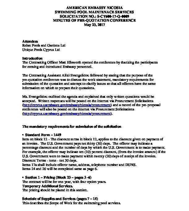 Swimming Pool Pre Proposal Meeting Minutes 05 26 2017 U S Embassy In Cyprus