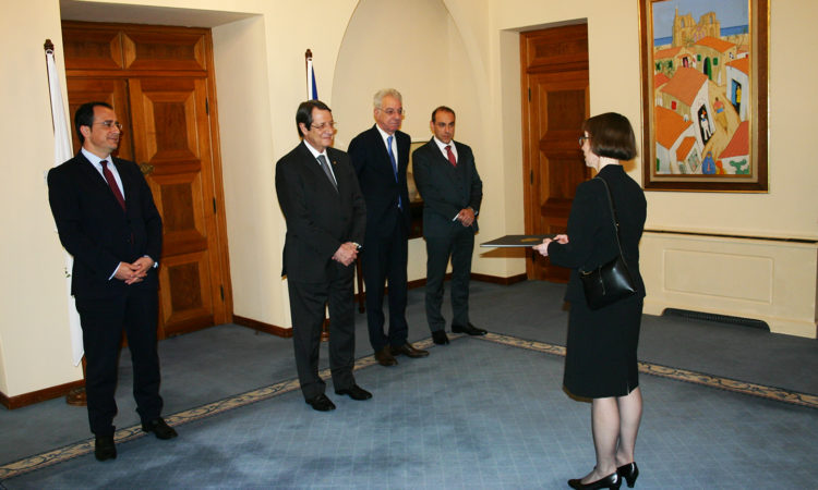 Ambassador Garber Presenting her Credentials to President Anastasiades