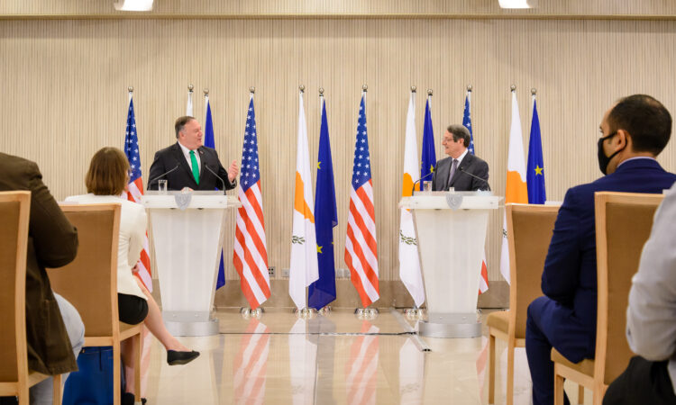 Secretary Pompeo and President Anastasiades at the Cyprus Center for Land, Open-seas, and Port Security Memorandum of Understanding Signing Ceremony