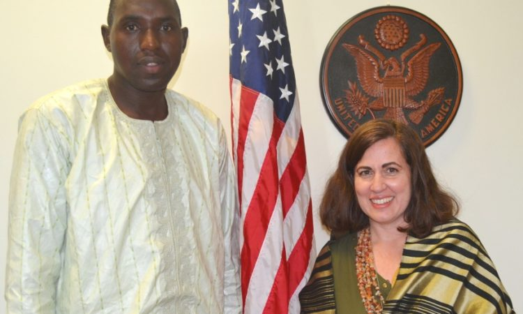 Mr. Aboubakar with Cultural Affairs Officer (CAO) Nitza Sola-Rotger [USEYde Photo]
