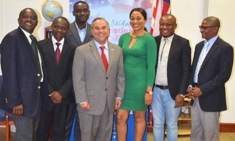 Embassy Staff pose with CAMIFF and MINAC Guests: From left to right: Mathias Tientcheu, U.S. Embassy Cultural Affairs Specialist; Archil Tchinda, Chief of Service of Cinematography, Ministry of Arts and Culture; Eno Ojong Charles, Coordinator of CAMIFF; Roberto Quiroz, U.S. Embassy Public Affairs Officer; Stephanie Tum, Cameroonian actress; Agbor Gilbert Ebot, CEO and Founder of CAMIFF; George Madiba, Director of Cinematography, Ministry of Arts and Culture.