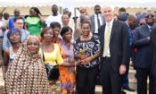 Ambassador Barlerin with CRA refugees