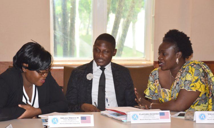 2018 Mandela Washington Fellows discuss during their pre-departure orientation.