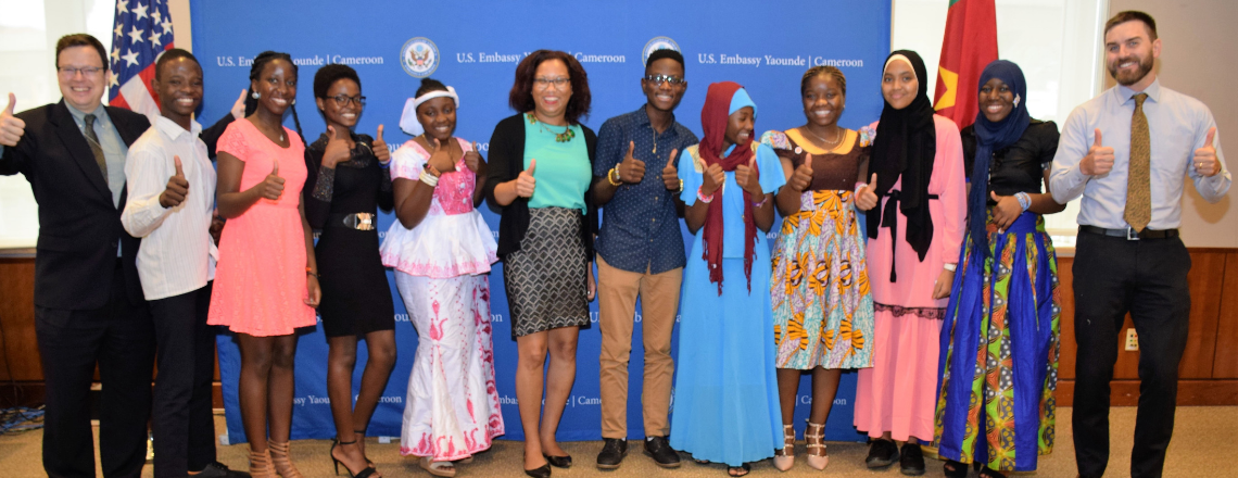 Cameroonian High School Students Return after a Year of Study in the U.S.