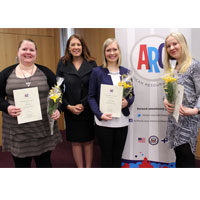ARC Grant 2016 winners: Anni Öberg (left); Assistant Public Affairs Officer Jeanie Duwan; Sara Saramäki; and Riikka Olkinuora. (© State Dept.)