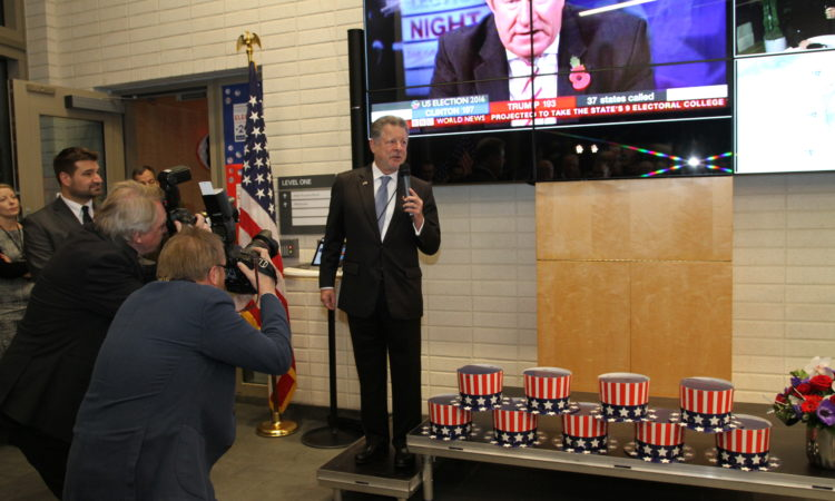 Ambassador Adams at the Presidential Election morning event (© State Dept.)