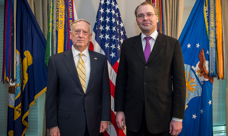 Secretary of Defense Jim Mattis hosts an enhanced honor cordon for Finland's Minister of Defense Jussi Niinisto at the Pentagon in Washington, D.C., March 21, 2016. (DOD photo by Air Force Tech. Sgt. Brigitte N. Brantley)