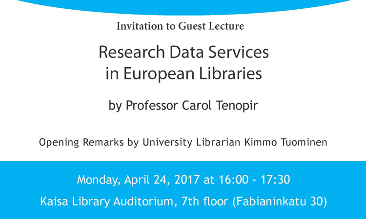 Invitation to public lecture by Dr. Tenopir
