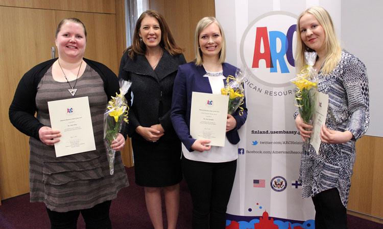 ARC Grant 2016 winners: Anni Öberg (left); Assistant Public Affairs Officer Jeanie Duwan; Sara Saramäki; and Riikka Olkinuora. (© State Dept.)