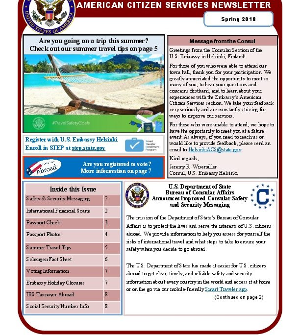 Message for U S  Citizens: American Citizen Services