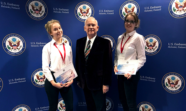 Ambassador Pence with the AEC winners of the 16-18 age category