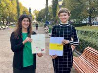 Deputy Public Affairs Officer Nazanin Berarpour congratulates Annika Tuominen, the winner of 2019 American Studies Grant