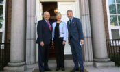 Ambassador Robert Pence; CEO Terhi Mölsä; and Foreign Minister Pekka Haavisto at the Ambassador's residence. (© State Dept.)