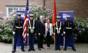 Ambassador and Mrs. Pence with the Marines (Photo: Jari Flink)