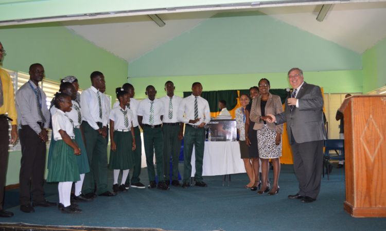 students receive prizes in ceremony