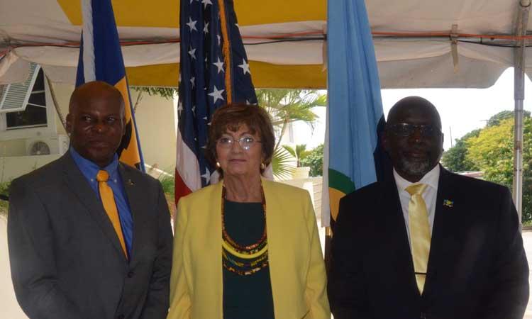 The Honorable Edmund Hinkson, Minister of Home Affairs, Ambassador Linda Taglialatela, U.S. Ambassador to Barbados, OECS and the Eastern Caribbean, and Major Michael Jones, Executive Director, (Ag), CARICOM IMPACS