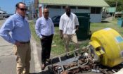 Deputy Chief of Mission at the U.S. Embassy, Joaquin Monserrate looks at one of the donated equipment.