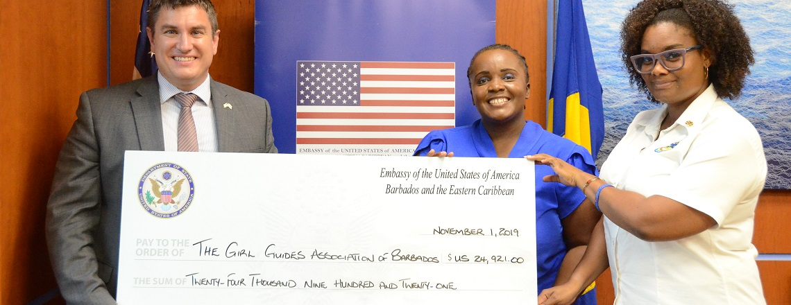 Girl Guides Association of Barbados receives grant from U.S. Embassy