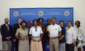 Top three winners and their teachers pose with the judges of the U.S. Embassy's Black History Secondary School Speech Competition