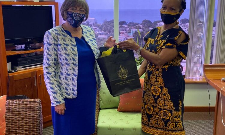 Pro Vice-Chancellor and Principal, Professor the Most Honourable V Eudine Barriteau (right) with Ambassador Linda S. Taglialatela