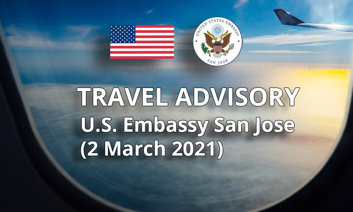 Travel Advisory: Costa Rica Extends Tourist Visa Validity Until June 2, 2021 With Proof of Purchase of COVID-19 Medical Insurance and Notification to Costa Rica's Tourism Institute (ICT).