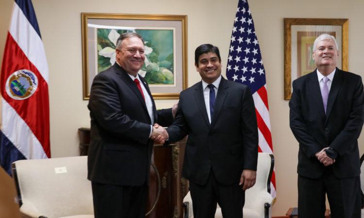 Costa Rican President Carlos Alvarado, Foreign Minister Manuel Ventura,
