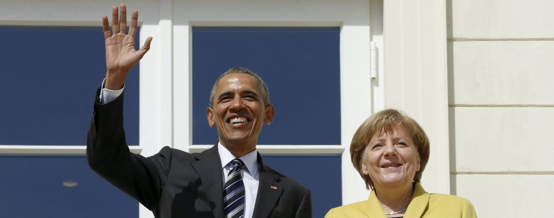 U.S. President Barack Obama and German Chancellor Angela Merkel