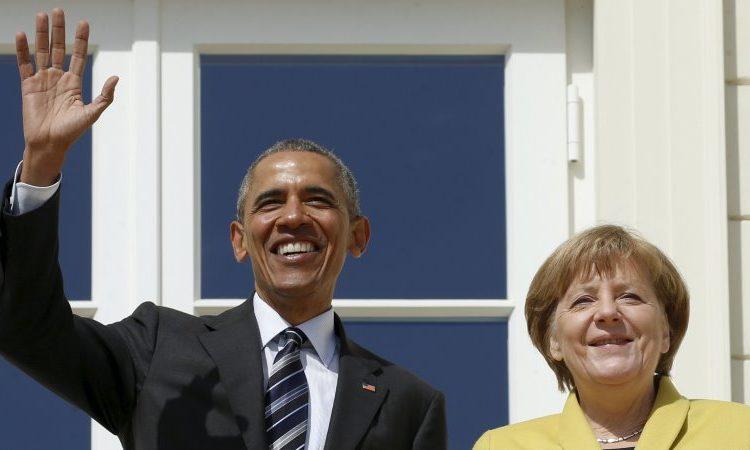 """Претседателот Обама се сретна со германската канцеларка Ангела Меркел во Хановер, Германија. (Фотографија: Пул/Гети имиџес) """" title=""""Претседателот Обама се сретна со германската канцеларка Ангела Меркел во Хановер, Германија. (Фотографија: Пул/Гети имиџес)"""