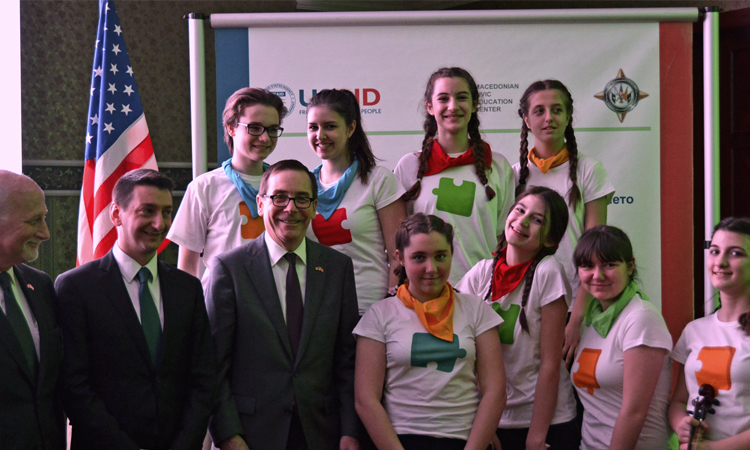 Ambassador Jess Baily at the Close-Out of the USAID Interethnic Integration in Education Project. (EMB photo)