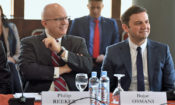 "Ambassador Philip Reeker, Civilian Deputy to the EUCOM Commander, and Deputy PM for European Affairs Bujar Osmani at the opening of the ""Balkans 360: Economic Development and Regional Relations in Southeast Europe"" (photo credit: Vlada.mk 2019)"