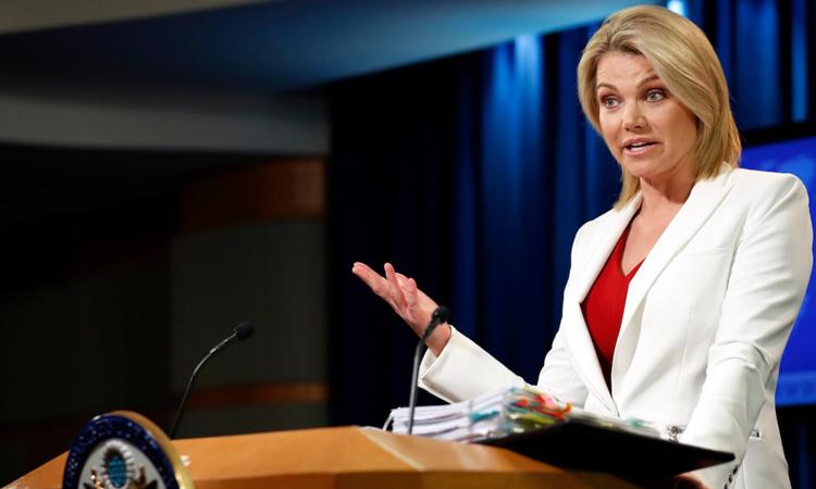 Heather Nauert, zëdhënëse e Stejt Departamentit dhe nën-sekretare e shtetit për diplomaci publike dhe marrëdhënie me publikun (© Alex Brandon/AP)