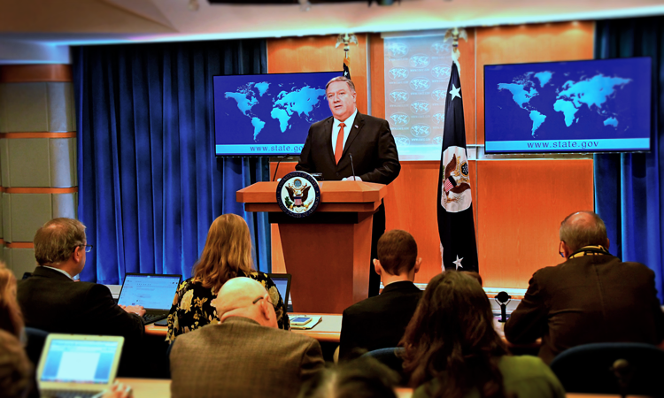 U.S. Secretary of State Michael R. Pompeo delivers remarks on the release of the 2018 Country Reports on Human Rights Practices, in the Press Briefing Room, at the U.S. Department of State in Washington, D.C., on March 13, 2019. [State Department photo by Michael Gross/ Public Domain]