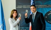 Amb. Byrnes and Minister Dimitrov toasting for 230th birthday of State Department