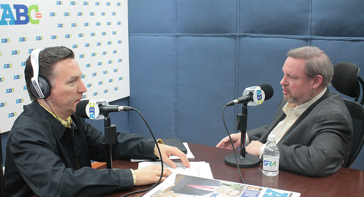 Consul General Timothy Zúñiga-Brown with radio anchor Gregorio Martinez at Radio ABC Monterrey