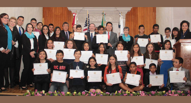 "Consul General Timothy Zúñiga-Brown with group of students during the launch of the ""English Access Micro-Scholarship Program"""