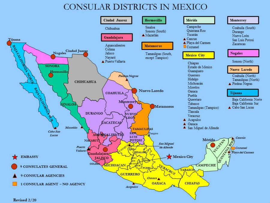 Us Consulates In Mexico Map Find Your Consular Location | U.S. Embassy & Consulates in Mexico