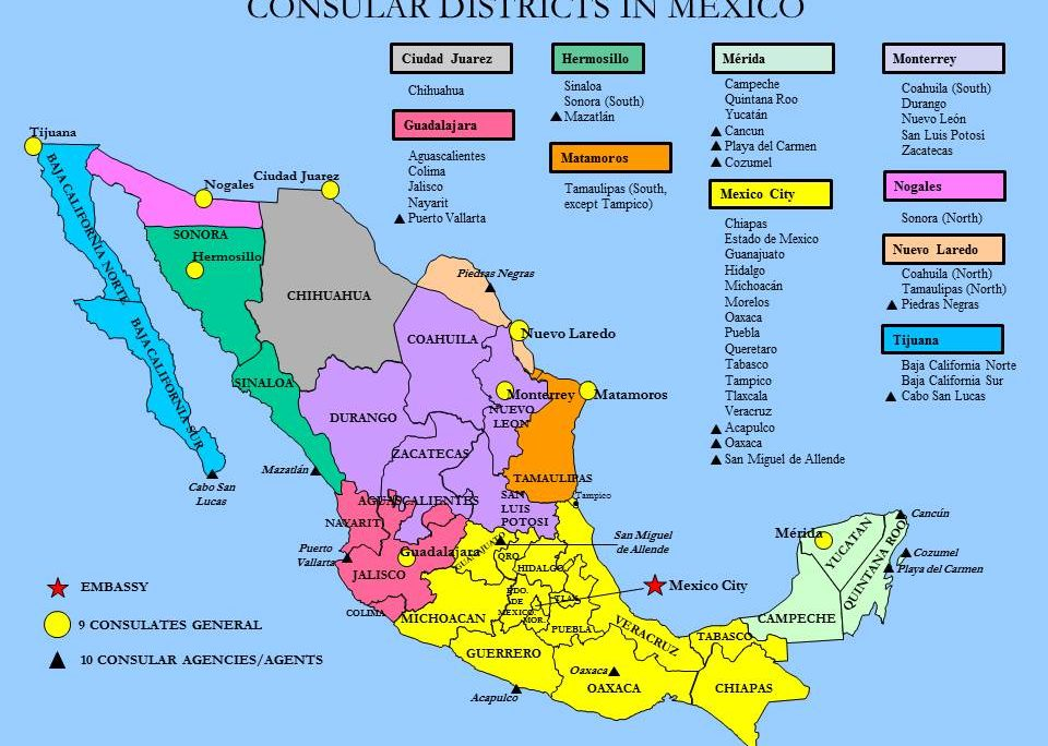 Us Consulates In Mexico Map Consular Districts map 960x684 | U.S. Embassy & Consulates in Mexico